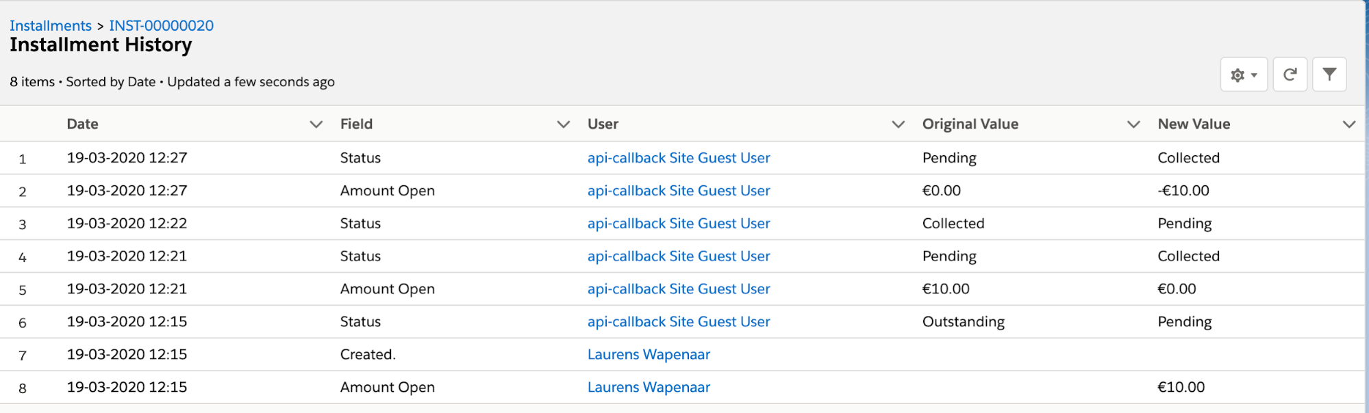 Salesforce object history example