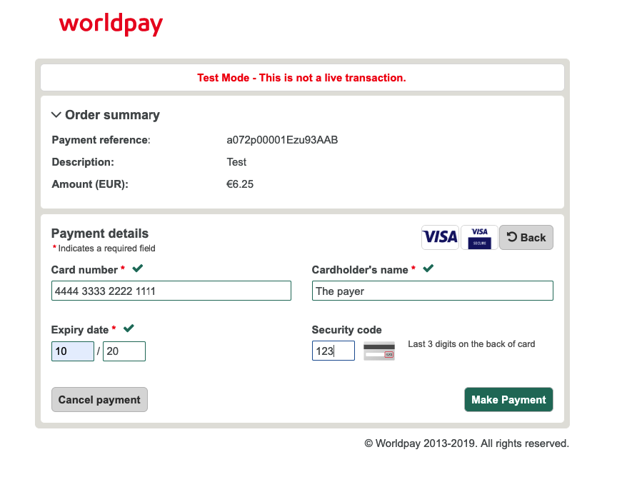 Worldpay MOTO payment details